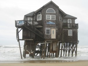 The sea tried to claim this house on North Carolina's Outer Banks in March 2014.
